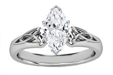 Triquetra Celtic Engagement Ring Forever One Marquise Cut Moissanite