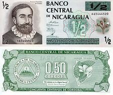 NICARAGUA 1/2 Cordoba Banknote World Paper Money UNC Currency Pick p-172