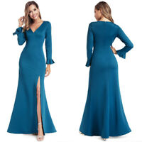 Ever-Pretty Ruffles Sleeve Long Evening Party Dress Slit Cocktail Prom Gown 0936