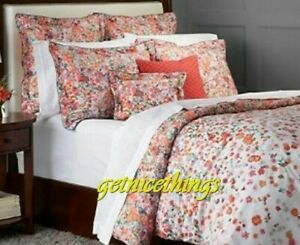 Yves Delorme Millefiori Queen Duvet Cover 92x92 Floral Red White 100% Cotton New