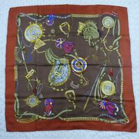 "H719 LancelParis Brown 100% Silk Scarf Scarves 34"" X 34"""