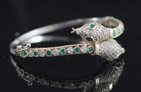 925Sterling Silver Handmade Gemstone Turkish Emerald Snake Bracelet Bangle Cuff