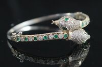 925 Sterling Silver Handmade Authentic Turkish Emerald Bracelet Bangle Cuff