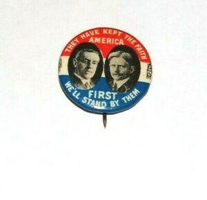 1916 WOODROW WILSON THOMAS MARSHALL campaign pin pinback button badge political
