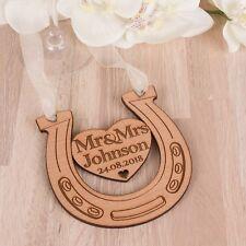 Personalised Cherry Wooden Mr & Mrs Wedding Lucky Horseshoe Bridal Keepsake Gift