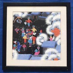 Original Chinese Art Watercolour Painting Winter Lantern Festival With Children