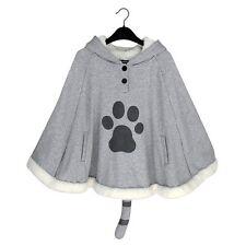 Anime Neko Atsume Cloak Cute Cat Backyard Lolita Girl Hoodie Coat Warm Cape Grey