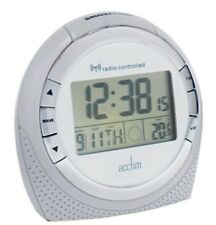 ACCTIM SNOW  RADIO CONTROLLED L.C.D ALARM CLOCK IN WHITE (OUR REF 4r)