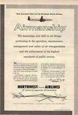 1957 KNOWLEDGE AND SKILL NORTHWEST ORIENT AIRLINES AD