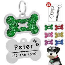 Personalized Dog Tags Engraved Puppy Pet ID Name Collar Tag Bone Glitter&Whistle