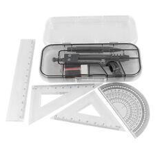 7 in 1 Black Clear Plastic Ruler Compass Geometric Drafting Tool Set HY