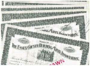 Set 6 Essex County Building and Loan Asociation, 1910, partly issued, VF