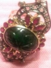 (pgasteelers1)10.3 Ct.carved emerald ruby 1ct Diamond14Kt Gold ring Value $8K