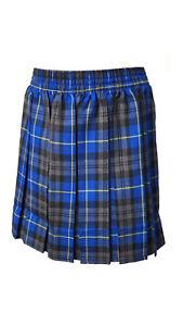 Girls School Skirt Tartan Box Pleated All round Elasticated Knee Length Age 5-13