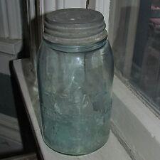 Antique -Atlas- Strong Shoulder Mason Aqua Glass Quart Fruit Jar & Zinc Lid