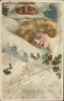 Christmas - Winsch Schmucker Beautiful Woman Sleeping & Santa Claus Postcard