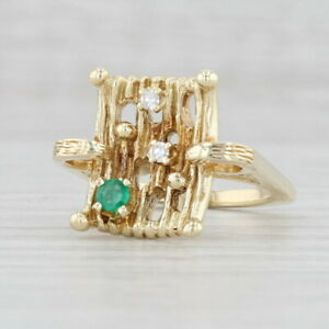 0.16ctw Emerald Diamond Abstract Ring 14k Yellow Gold Size 4.75 Cocktail