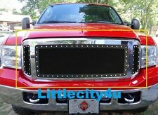 FOR 05 06 07 Ford F250 F350 SuperDuty Black Wire Mesh Rivet Stud Grille Insert