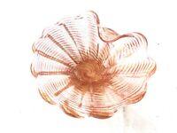 Vintage Murano Art Glass Peach Gold Foil Fleck Bowl Dish swirl