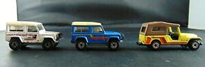Matchbox Superfast Lot Of 3 Jeep CJ6 Land Rover Ninty White Blue Yellow