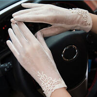 Summer Womens UV Sunscreen Short Sun Gloves Fashion Ice Silk Lace Screen