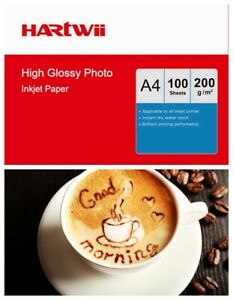 A4 Photo Paper High Glossy White 200Gsm Inkjet Paper Printing 100sheets Hartwii