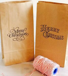 10 x Merry Christmas Block Bottom Paper Gift Bags Presents Treat bags
