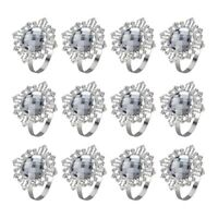 12Pcs Acrylic Silver Wedding Napkin Rings Round Towel Ring Holders Banquet  H6L5
