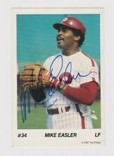 Mike Easler signed autographed postcard Phillies never used blue sharpie