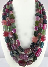 Tumble Gemstone Beads Ladies Necklace 1942 Cts Natural Multi Tourmaline Carved