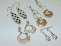 Various Vintage Estate Sterling Silver Dangle Drop Pierced Earrings Stones Beads