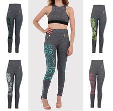 Ladies Womens Skinny Fit Sporty High Waisted Fake Zip Jeggins Leggins UK