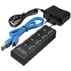 EU Plug 4 Ports USB 3.0 HUB On/Off Switch + AC Power Adapter Cable For Laptop PC