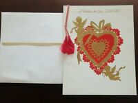 1960s Vintage Rust Craft Large Valentine's Day Gold Cherubs Love GREETING CARD