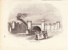 c1850 Antique Engravings - London & Birmingham Railway Stations - Primrose Hill