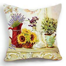 Retro Vintage Yellow Sunflower Lavander Pot Home Pillow Case Cushion Cover 18''