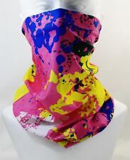 Multifunction head wrap neck tube scarf mask hat PINK PAINT SPLAT hair fashion