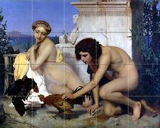 21.25 x 17 Art Young Greeks Cock Fight Ceramic Mural Backsplash Bath Tile #2217