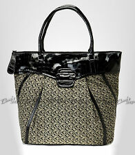 GUESS Gitana SI338025 Black Bag Purse Shopper Tote Canvas Faux Croc Patent $118