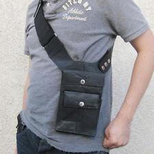 Black Leather Hidden Tactical Gun Pouch Messenger Travel Passport Phone Bag