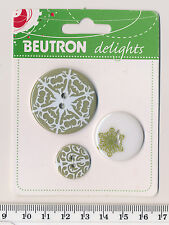 """BEUTRON """"DELIGHTS"""" BUTTON SET  Brownish olive green and white - snowflake - BNIP"""