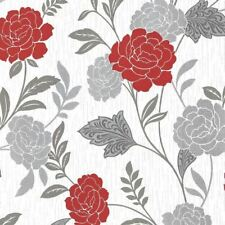 Red White Silver Flower Floral Wallpaper Textured Vinyl Glitter Carla Arthouse