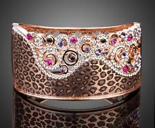 On Trend Luxury 18K Rose Gold P Sparkly Crystal Leopard Print Bangle Bracelet