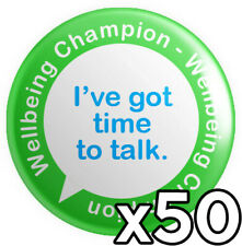 More details for 50 x wellbeing champion button pin badges 25mm 1 inch - mental health