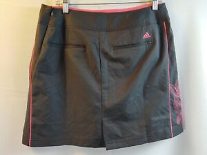 Adidas Clima Cool Black With Pink Flower Design Skirt Women's Size 8 100% Poly