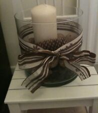 Autumn LARGE GLASS VASE WITH CANDLE AND NATURAL Autumn Decorations PINE CONES