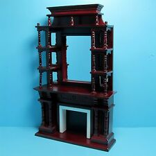 Dollhouse Miniature Mahogany Victorian Fireplace with Mirror and Shelves ~ D0036