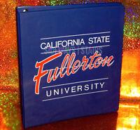 VINTAGE CAL STATE FULLERTON 3-RING BINDER california university CSUF folder rare