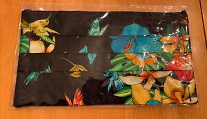 Johnny Was Designer Mask Black Cotton Floral Filter Pocket Hummingbirds Tropical