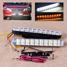 New 2x 12V 30LED Autos Front White DRL Fog Lamps Amber Turn Signal Lights Strips